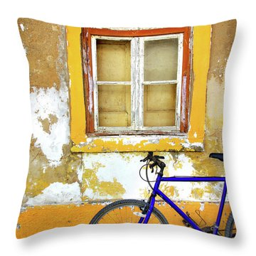 Bike Window Throw Pillow by Carlos Caetano