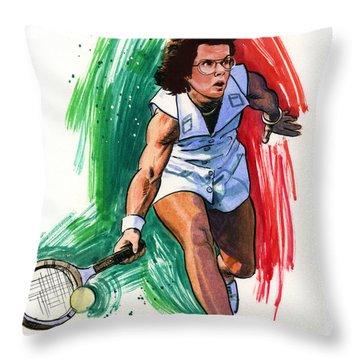 Billie Jean King Throw Pillow by Ken Meyer