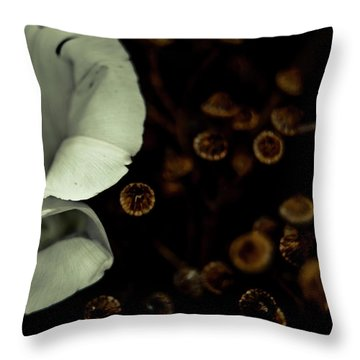 Bindweed And Seeds Throw Pillow by Grebo Gray