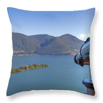 Binoculars Focused On The Isole Di Brissago Throw Pillow by Joana Kruse