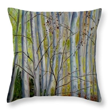 Throw Pillow featuring the painting Birch Forest by Julie Brugh Riffey