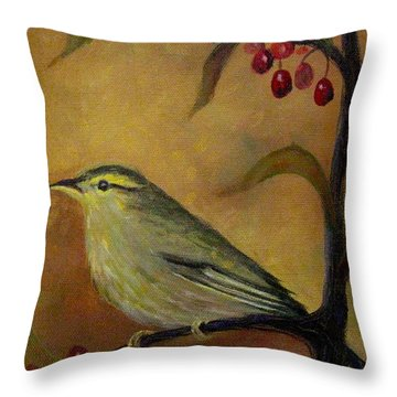 Bird And Berries Throw Pillow by Gretchen Allen