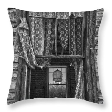 Bird Flew Out The Window Throw Pillow by Empty Wall