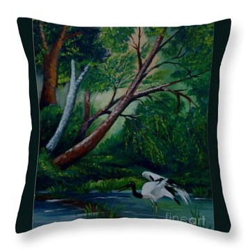 Bird In The Swamp Throw Pillow