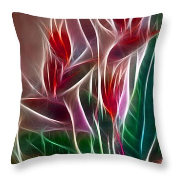 Bird Of Paradise Fractal Throw Pillow by Peter Piatt