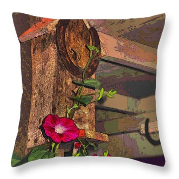 Birdhouse Morning Glories Two Throw Pillow by Joyce Dickens