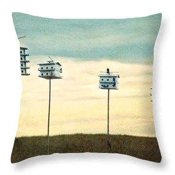 Birdhouse Row Throw Pillow