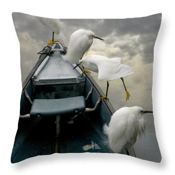 Birds Boat And Beyond Throw Pillow by Henry Murray