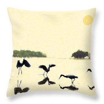 Throw Pillow featuring the photograph birds feeding in the Everglades by Dan Friend