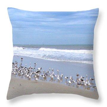 Birds On A Beach Throw Pillow