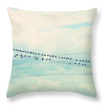 Birds On Wires Blue Tint Throw Pillow by Paulette B Wright