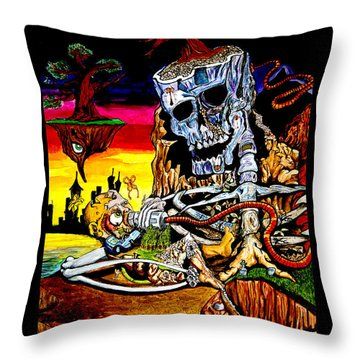 Throw Pillow featuring the mixed media Birth And Death by eVol  i