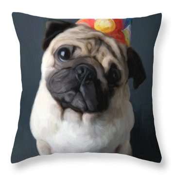 Birthday Boy Throw Pillow by Snake Jagger