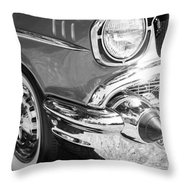 Black And White 1957 Chevy Throw Pillow by Steve McKinzie