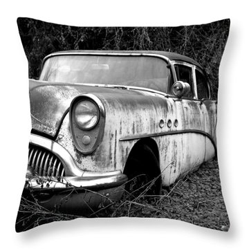 Black And White Buick Throw Pillow by Steve McKinzie