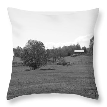 Throw Pillow featuring the photograph Black And White Country Fields by Michael Waters