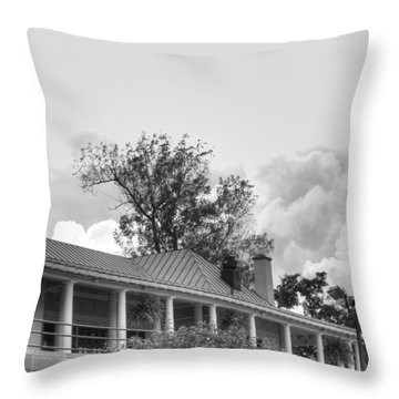Throw Pillow featuring the photograph Black And White Delaware Casino by Michael Frank Jr
