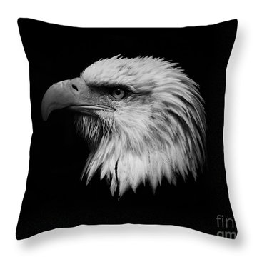 Throw Pillow featuring the photograph Black And White Eagle by Steve McKinzie