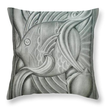Black And White Fish Throw Pillow