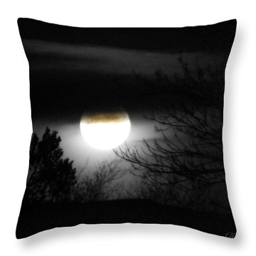 Black And White Full Moon Throw Pillow