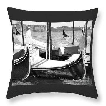 Black And White Gondolas Venice Italy Throw Pillow by Rebecca Margraf