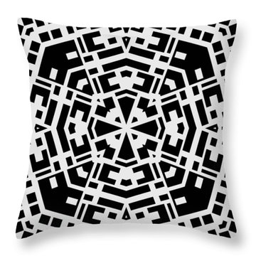 Black And White Kaleidoscope Throw Pillow by David G Paul