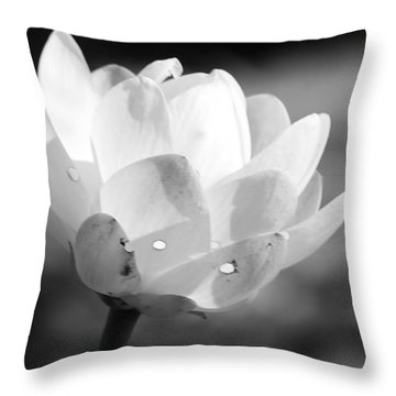 Black And White Lotus Bloom Throw Pillow by Bruce Bley