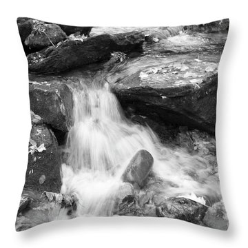 Throw Pillow featuring the photograph Black And White Mini Waterfall by Michael Waters