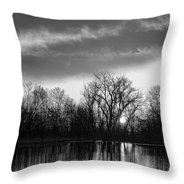 Black And White Sunrise Over Water Throw Pillow by James BO  Insogna