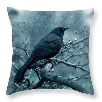 Black Bird On Branch Throw Pillow by Jill Battaglia