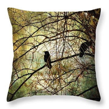 Throw Pillow featuring the photograph Black Birds by John Rivera