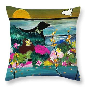 Black Birds Throw Pillow by Kelly Turner