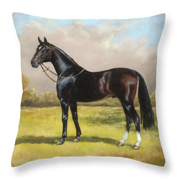 Black English Horse Throw Pillow