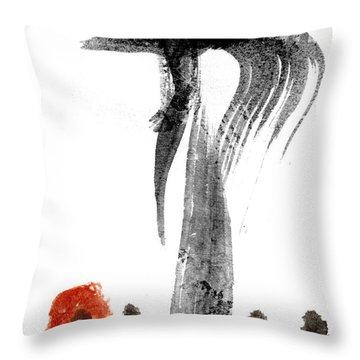 Black Ink Red Paint Throw Pillow
