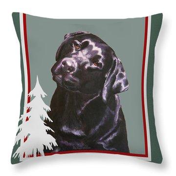 Black Labrador Portrait Christmas Throw Pillow