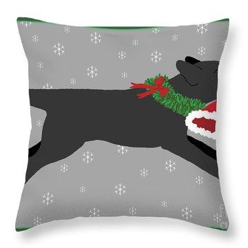 Black Labrador Steals Santa's Hat Throw Pillow