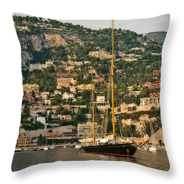 Black Sailboat Throw Pillow by Steven Sparks