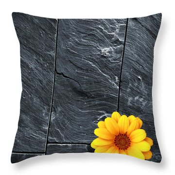 Black Schist Flower Throw Pillow by Carlos Caetano