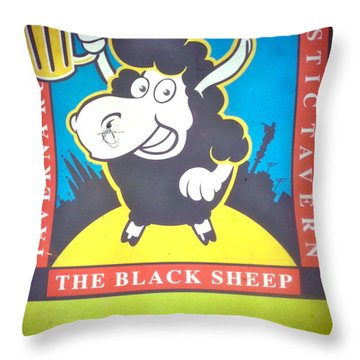 Black Sheep Throw Pillow by Sheep McTavish