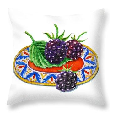 Blackberries Throw Pillow by Irina Sztukowski