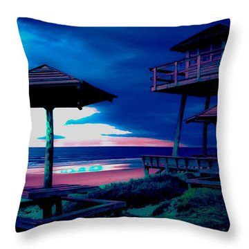 Blacklight Tower Throw Pillow by DigiArt Diaries by Vicky B Fuller