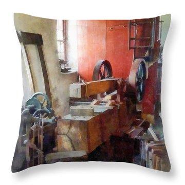 Blacksmith Shop Near Windows Throw Pillow by Susan Savad