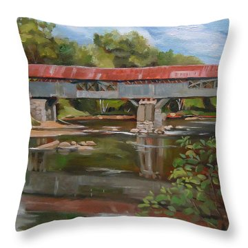 Blair Bridge Campton New Hampshire Throw Pillow