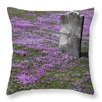 Blank Colonial Tombstone Amidst Graveyard Phlox Throw Pillow by John Stephens