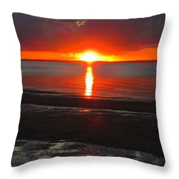 Throw Pillow featuring the photograph Blazing Sunset by Ramona Johnston