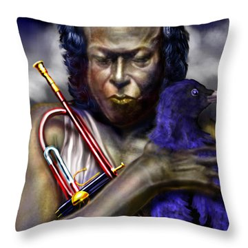 Blessings And Curses - Miles Davis Throw Pillow by Reggie Duffie