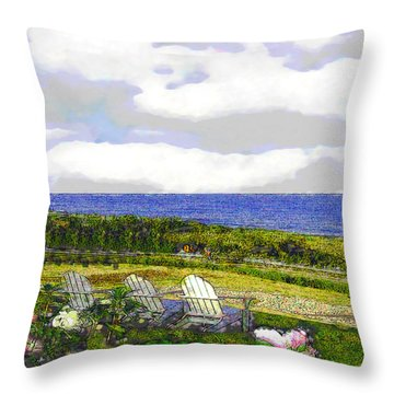 Block Island Sea Chairs Throw Pillow