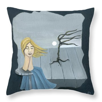 Blond In The Wind Surrealistic Landscape Windy Tree Woman Head In Blue And Yellow  Throw Pillow by Rachel Hershkovitz