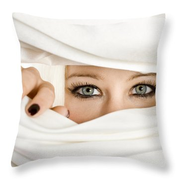 Blond Woman Eyes Throw Pillow