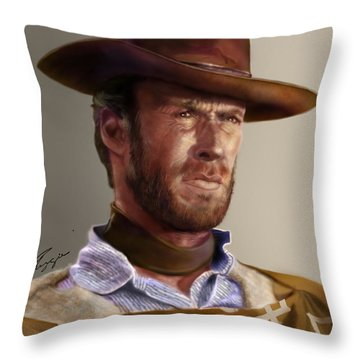 Blondie - Clint Eastwood Throw Pillow by Reggie Duffie